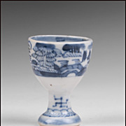 19th C. Blue and White Chinese Canton Egg Cup