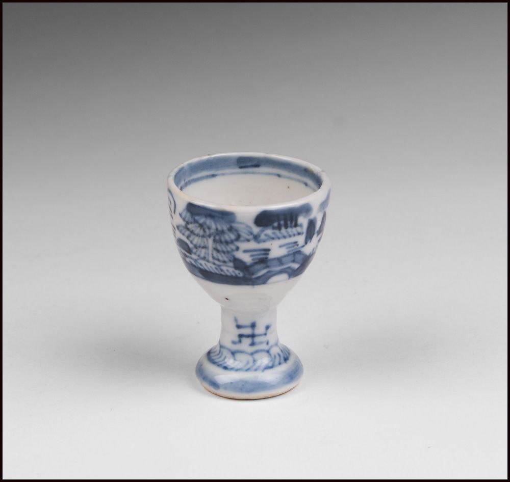 19th C Blue And White Chinese Canton Egg Cup From Piatik