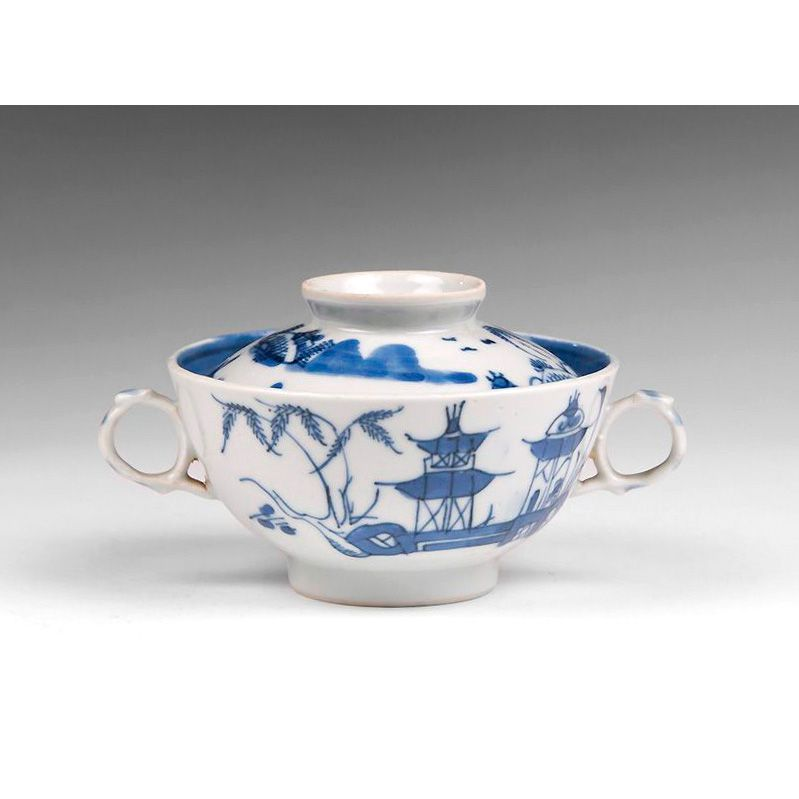 1830-40 Nanking Chinese Export Rice Or Soup Bowl With Footed Stand