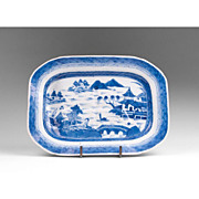 Mid 19th C. Blue and White Canton Porcelain Well and Tree Platter