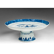 Chinese Export Blue & White Qianlong Period Tazza