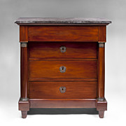 Late 19th C. French Empire Commode or Chest With Black Marble Top