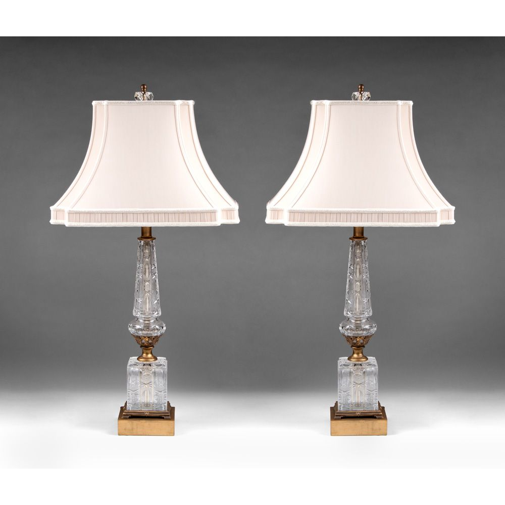 Pair of Early 20th C. French Empire Style Cut Glass Column Lamps