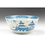 19th C. Blue & White Chinese Export Canton Rice Bowl