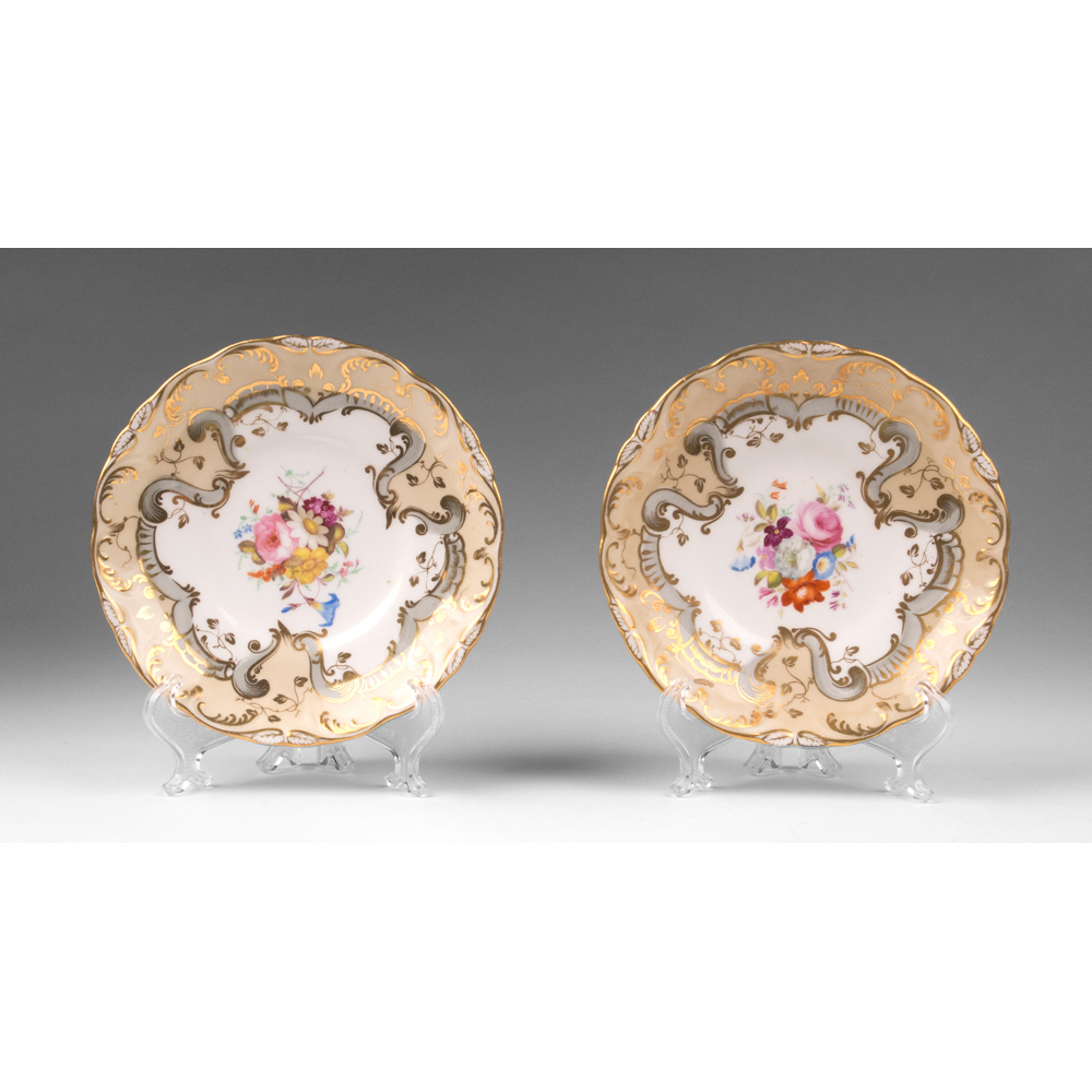 Pair of Early 19th Century Handpainted Saucers, Celadon Border