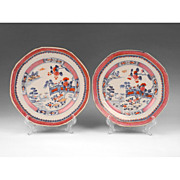 Pr. 19th C. Chinese Export Plates, Pink And Blue Enamels