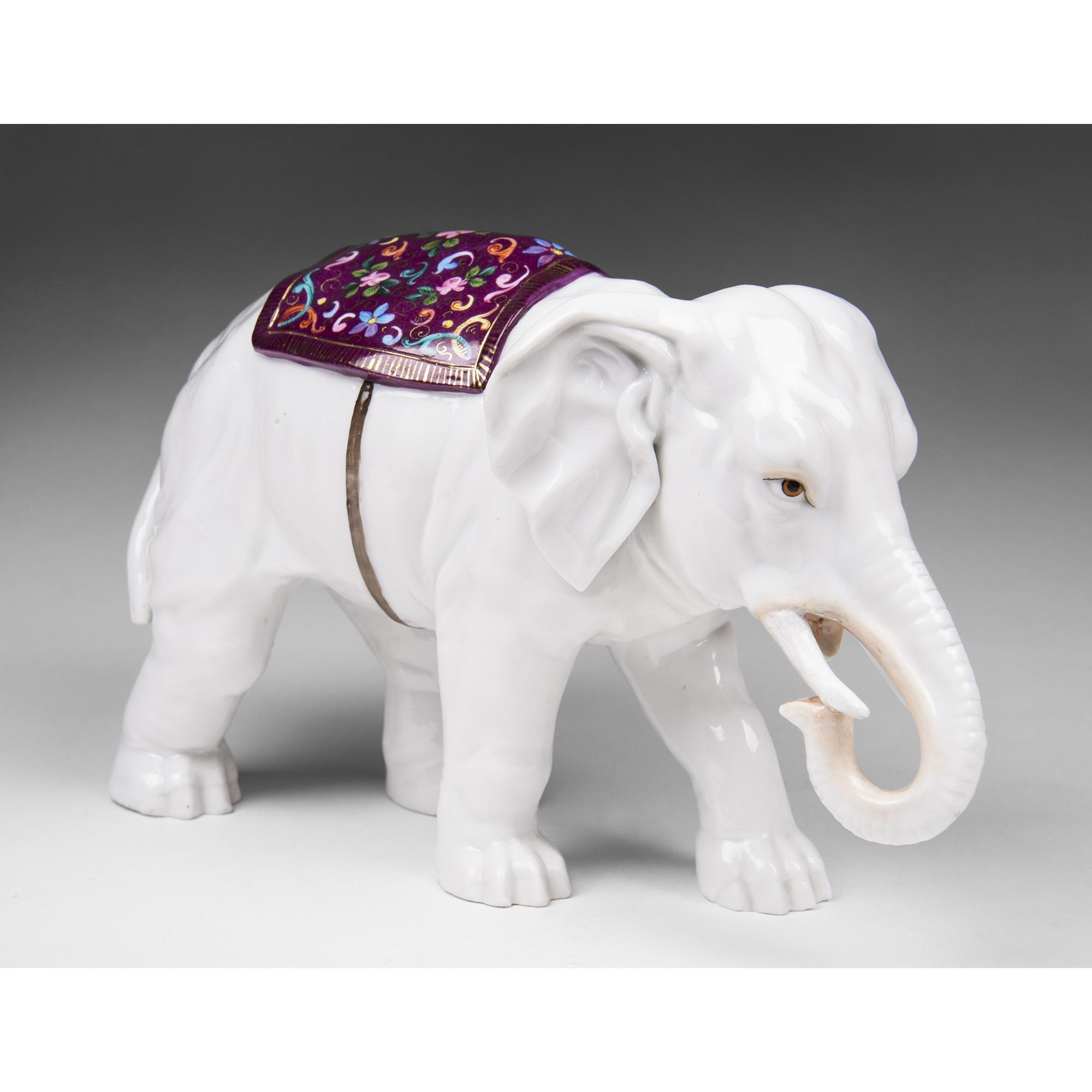 Late 19th C. Ernst Bohne Sons German Porcelain Elephant