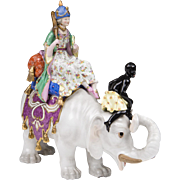 Early 20th C. Meissen Elephant With Persian Woman