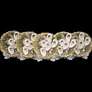 Set Of Five Turkey Pattern 1887 Haviland Limoges Oyster Plates