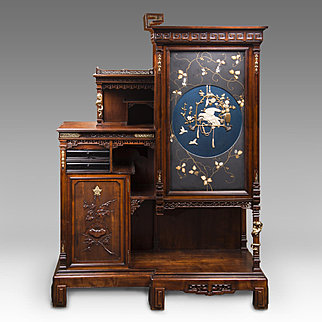 Meiji Period Japanese Specimen Display Cabinet With Lacquered Panels