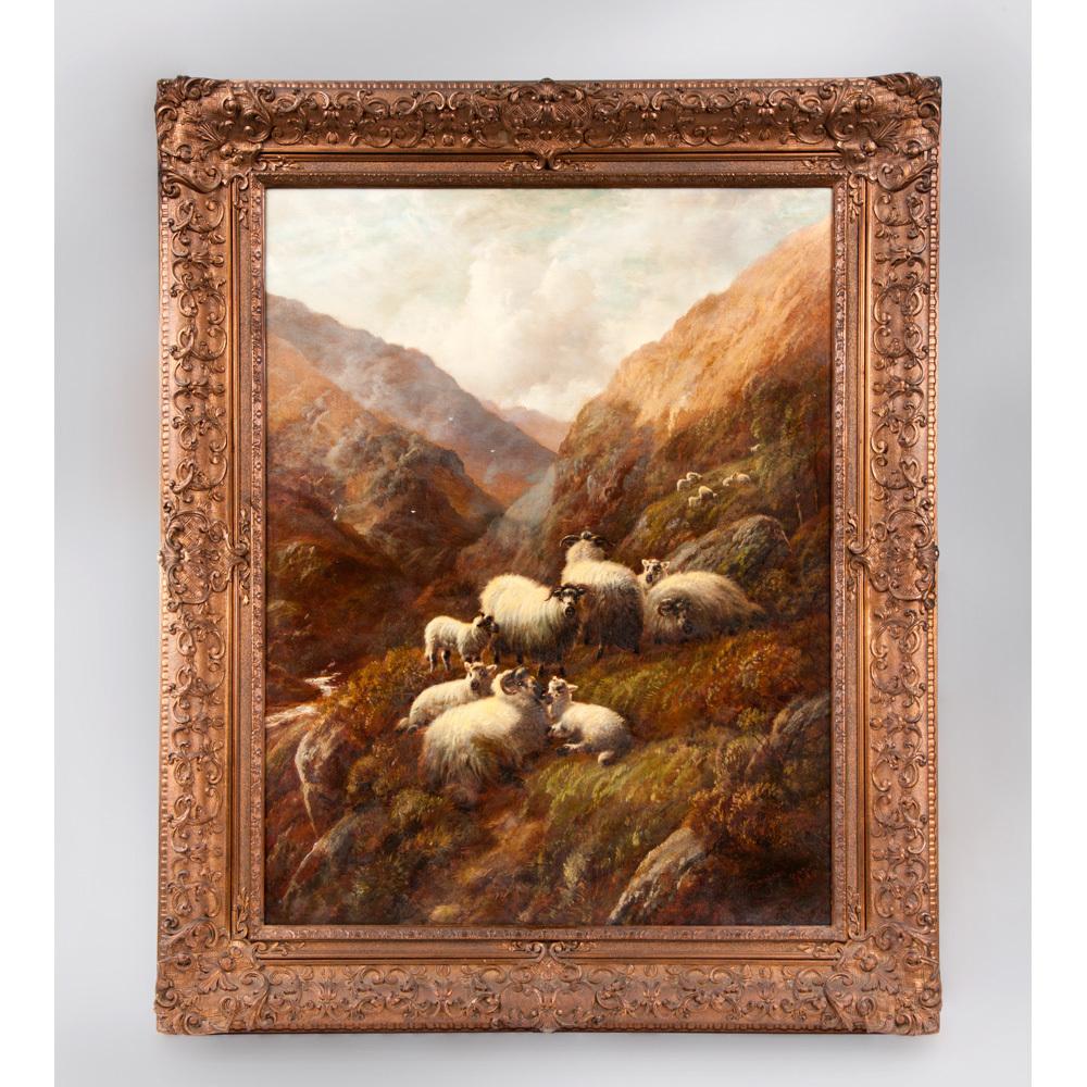 Robert F. Watson Scottish Highland Sheep Oil On Canvas