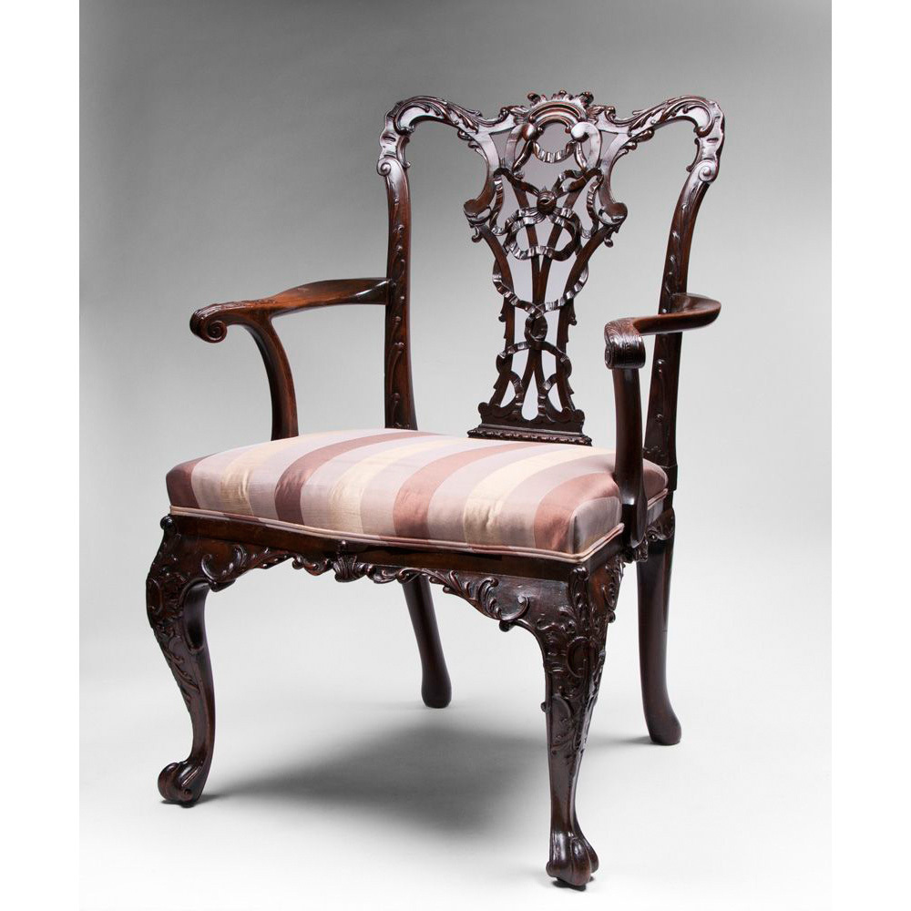 19th c mahogany ribbon carved chippendale armchair sold for Armchair furniture