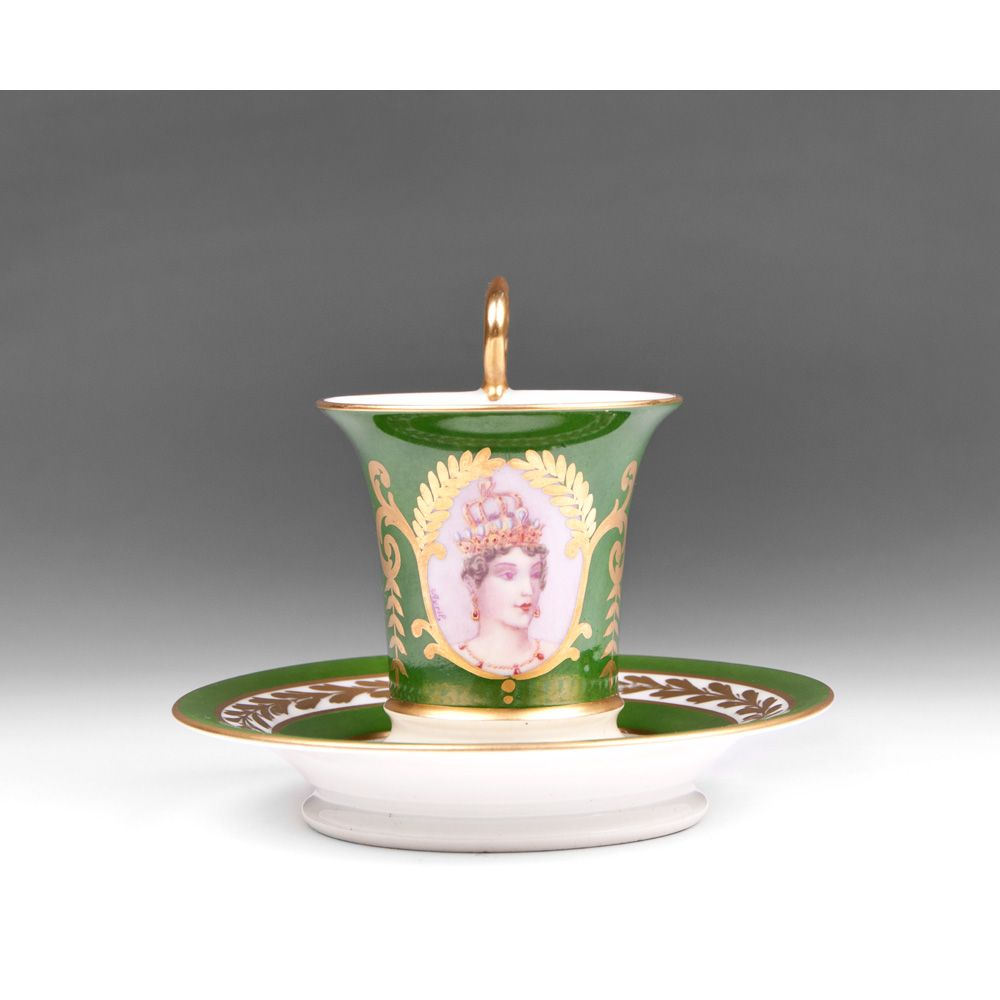 Late 19th C. German Porcelain Cabinet Cup & Saucer