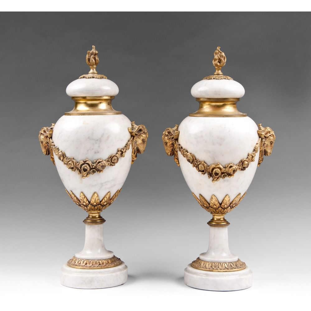 Pair Of French Louis XVI Style Ormolu And Marble Cassolettes