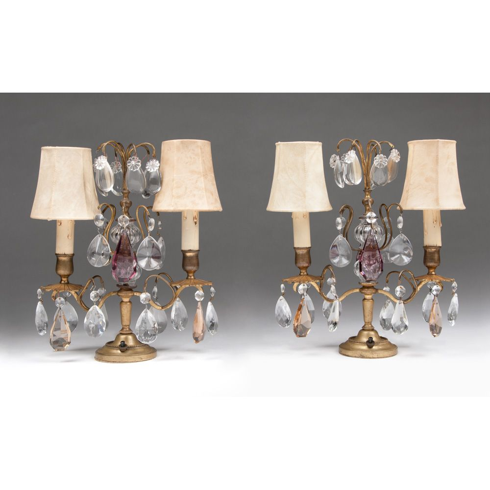 Pair of Early 20th C. French Girandoles, Crystal Prisms