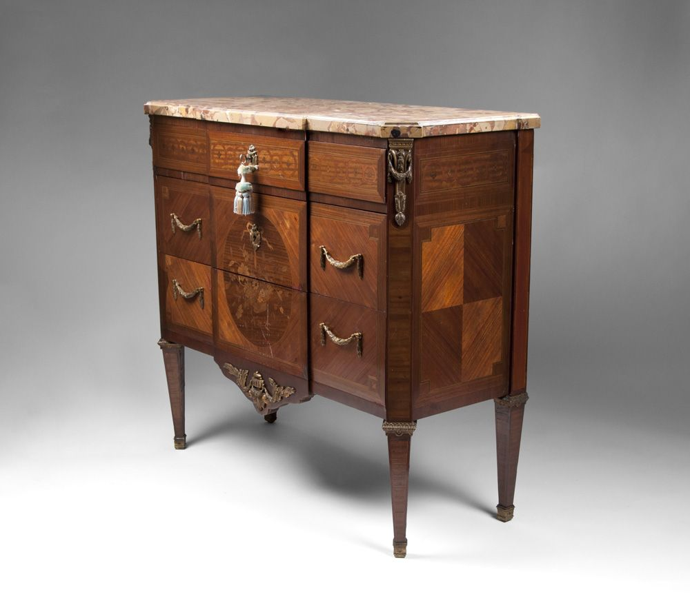 19th C. Louis XVI Kingwood Commode With Floral Inlay