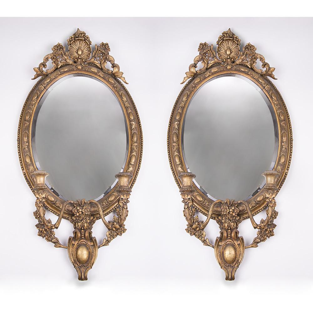 Pair of 19th C. Regency Giltwwood Mirror Sconces