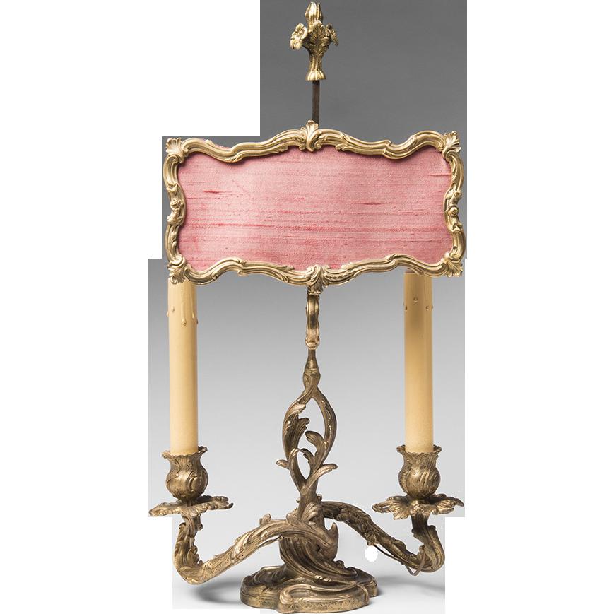 Late 19th C. Louis XV Ormolu Candlestick Lamp