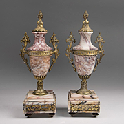 Pair of Napoleon III Marble Garniture Urns Mounted in Bronze
