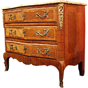 19th Century Louis XV Inlaid Commode With Breche Marble