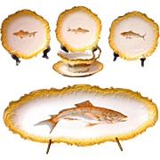 19th C. Handpainted Limoges 15 Piece Fish Set