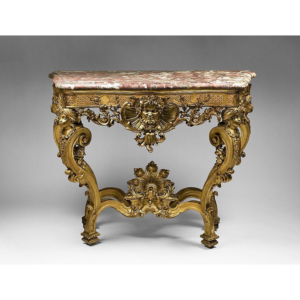 18th C. German Rococo Gilded Hand Carved Console Table With Marble Top
