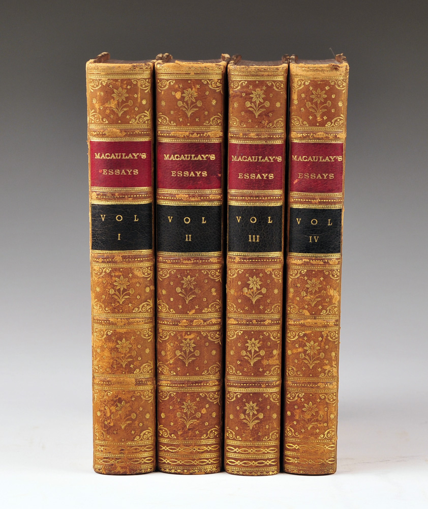 Critical And Historical Essays by Lord Macaulay, Leather Bound Books, 4 Vols., 1885
