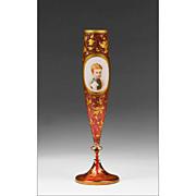 1865 Cranberry Bohemian Hand Painted Portrait Vase
