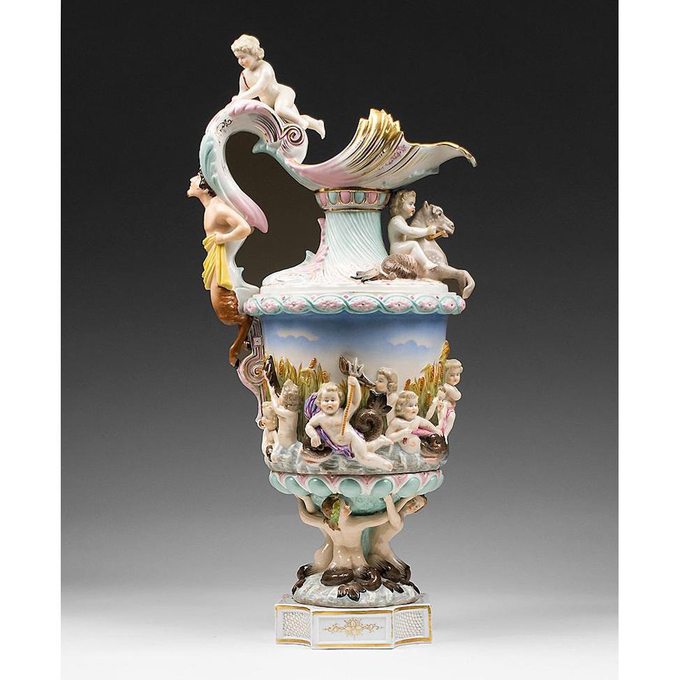 Nautical Theme Royal Rudolstadt Porcelain Bolted Ewer