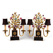Pair of Italian Brass Patinated Floral Trellis Candelabras