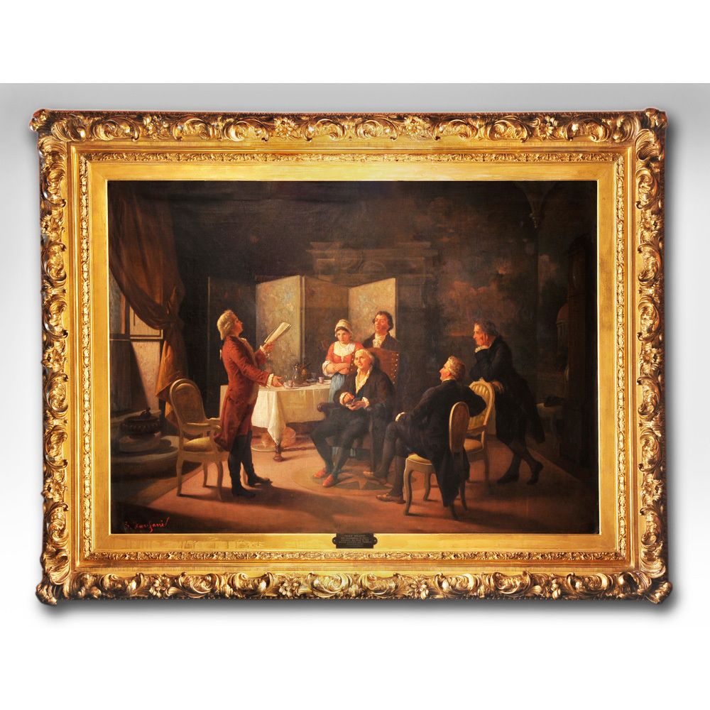 enrico fanfani oil painting on canvas mounted in a gilded rococo frame pia 39 s antique gallery. Black Bedroom Furniture Sets. Home Design Ideas