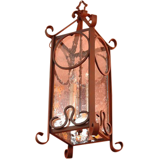 Wrought Iron Hanging Lantern With Seed Glass Panels