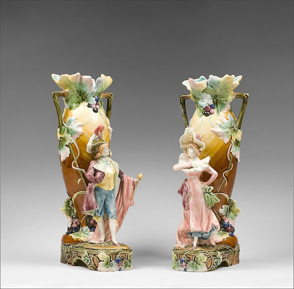 Pair of French Art Nouveau Barbotine Figural Majolica ...