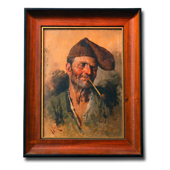 Giuseppe Giardiello Oil On Board of Fisherman