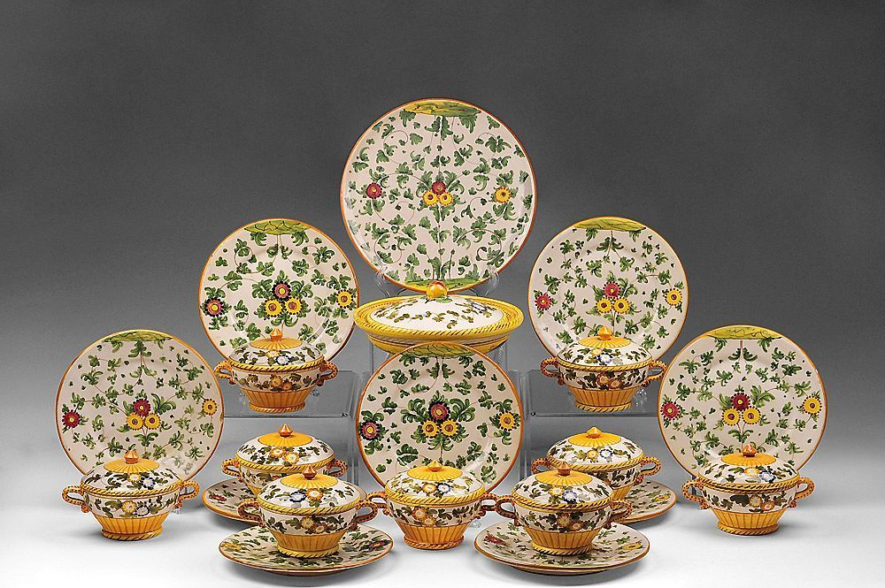 30 Pc. Set of 1920 Italian S.A.C.A. Hand Painted Pottery