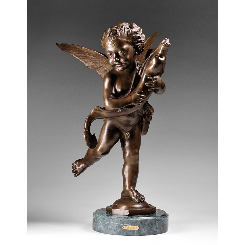 Cherub With A Dolphin Bronze Sculpture After Moreau From