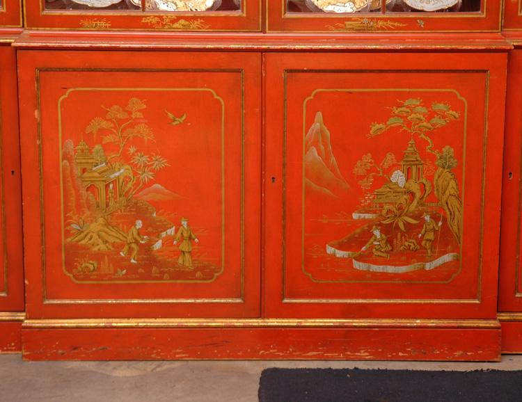George Iii Style Breakfront Painted In Chinese Red