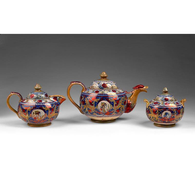 Alfredo Santarelli Lustre Ware Ceramica Tea Set