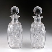 Matching Pair of late 19th C. Crystal Zipper Cut Stoppered Decanter
