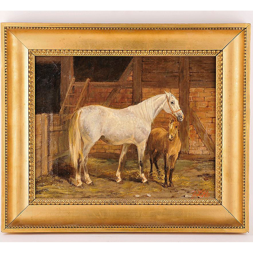 Arvid Fredrik Lonnroth O/C Mare With Foal In Stall