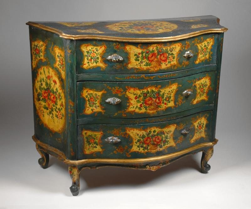 Painted Venetian Commode Rococo Style Teal Amp Ochre