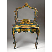 Early 19th C. Polychrome Venetian Vanity With Mirror or Coiffeuse