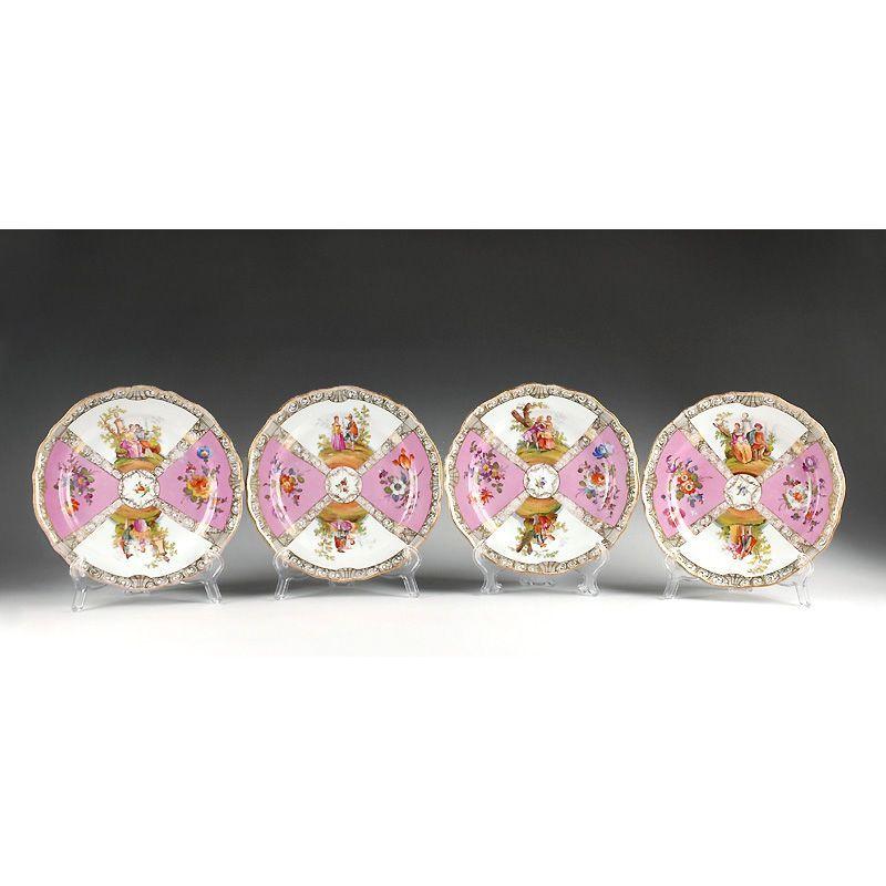 Set of 4 Quatrefoil Decorated Meissen Style Plates