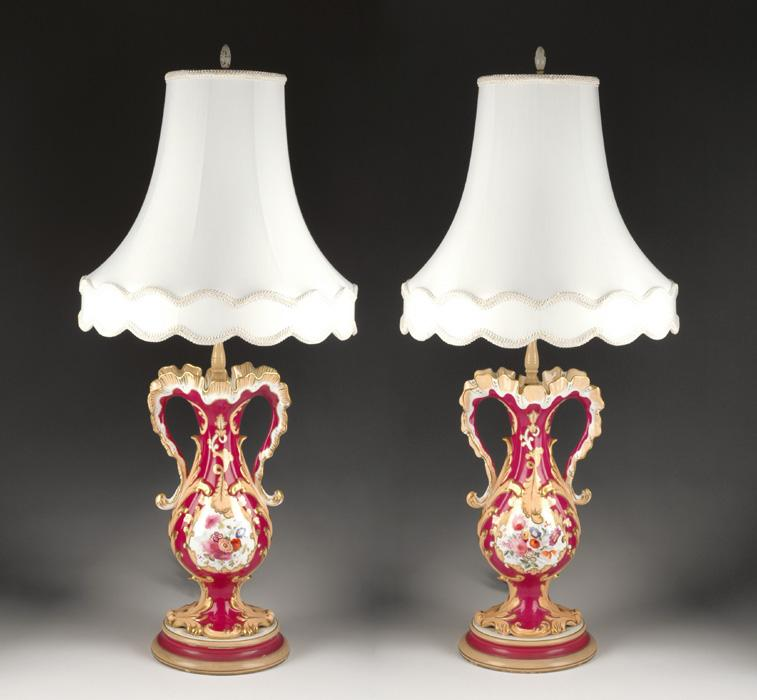 Neo-Rococo Rockingham Vases Fitted As Lamps