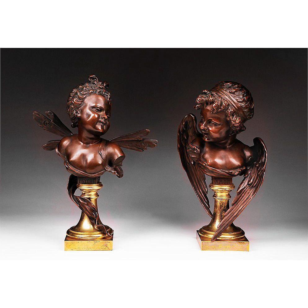 Pair of 19th C. Bronze Busts by Ruffino Ruff. Besserdich