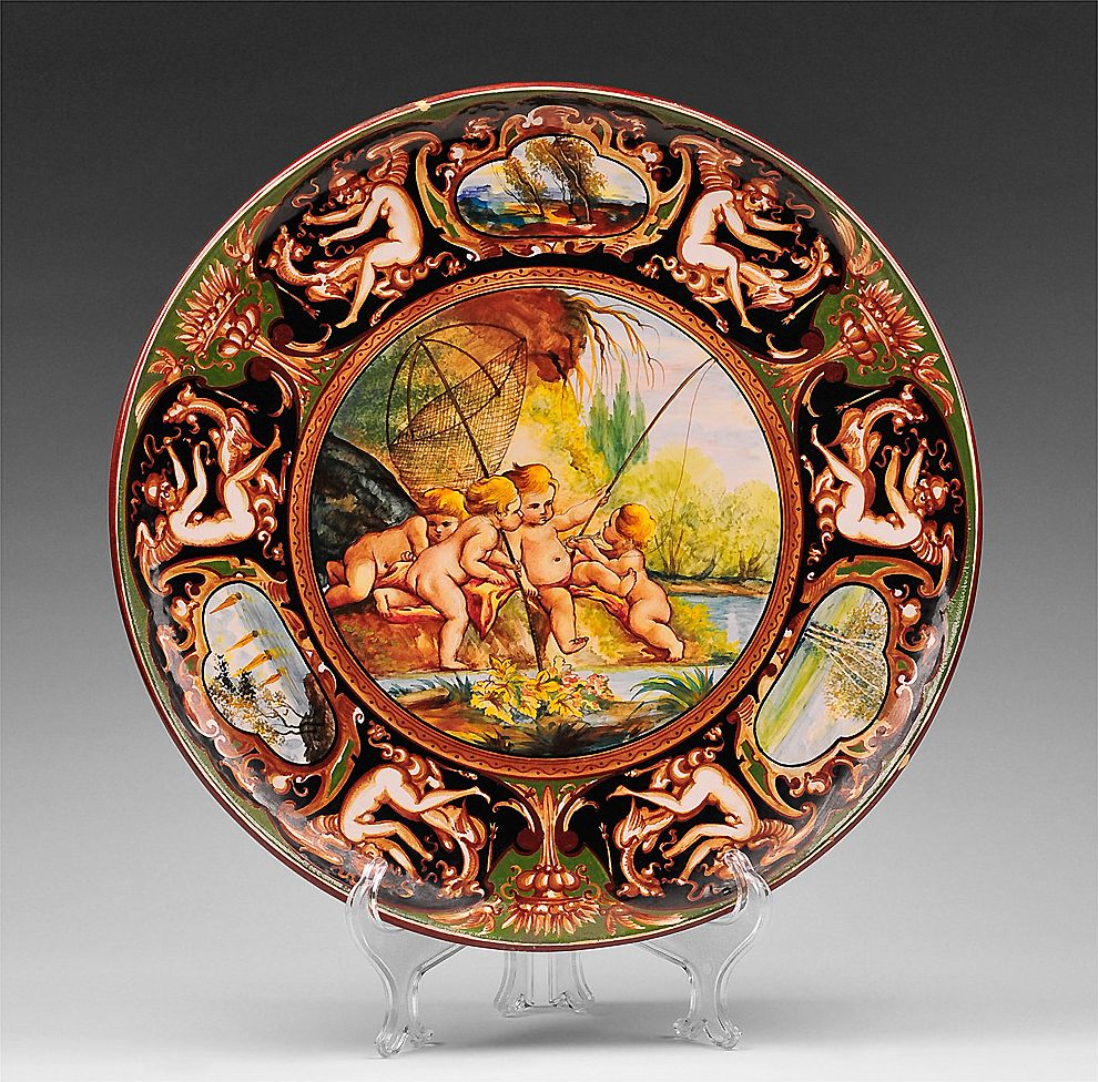 C. A. C. F. Majolica Hand Painted Charger