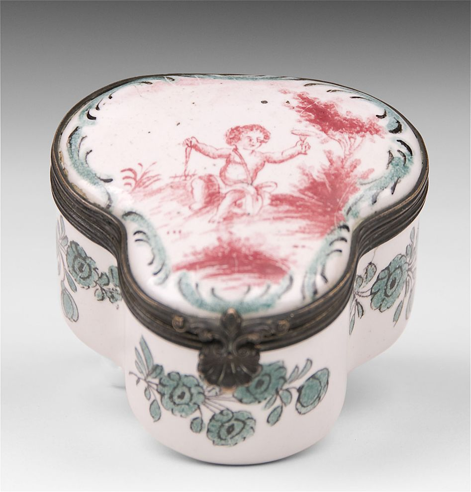 Sceaux Faience Puce Decorated 18th C. Box