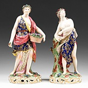 Pr. of 19th C. Edme Samson Porcelain Figures In The Style of Chelsea Derby