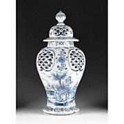 Blue & White 19th Century Delft Faience Covered Urn