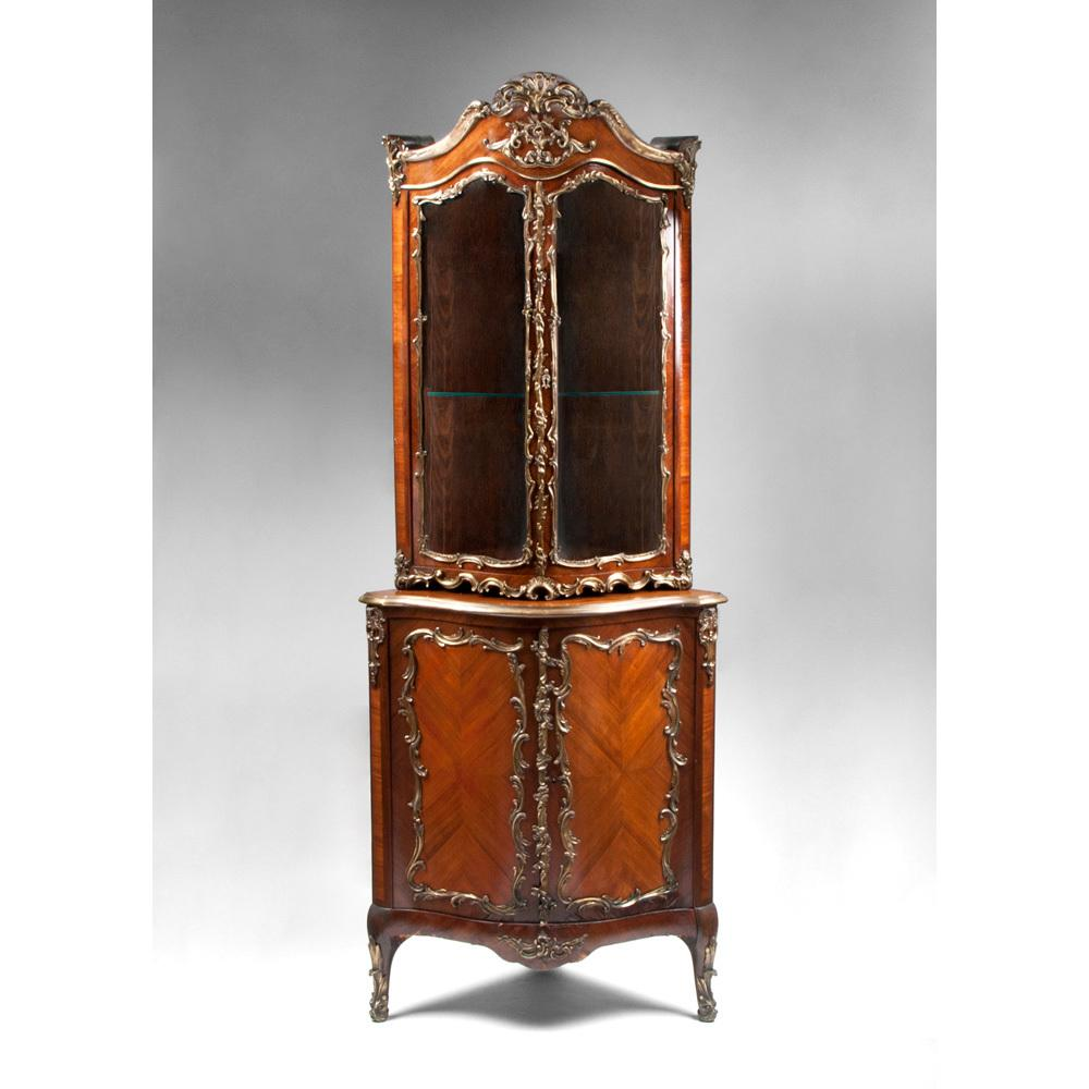 19th C. Louis XV Encoignure Vitrine or Corner Cabinet Mounted in Ormolu
